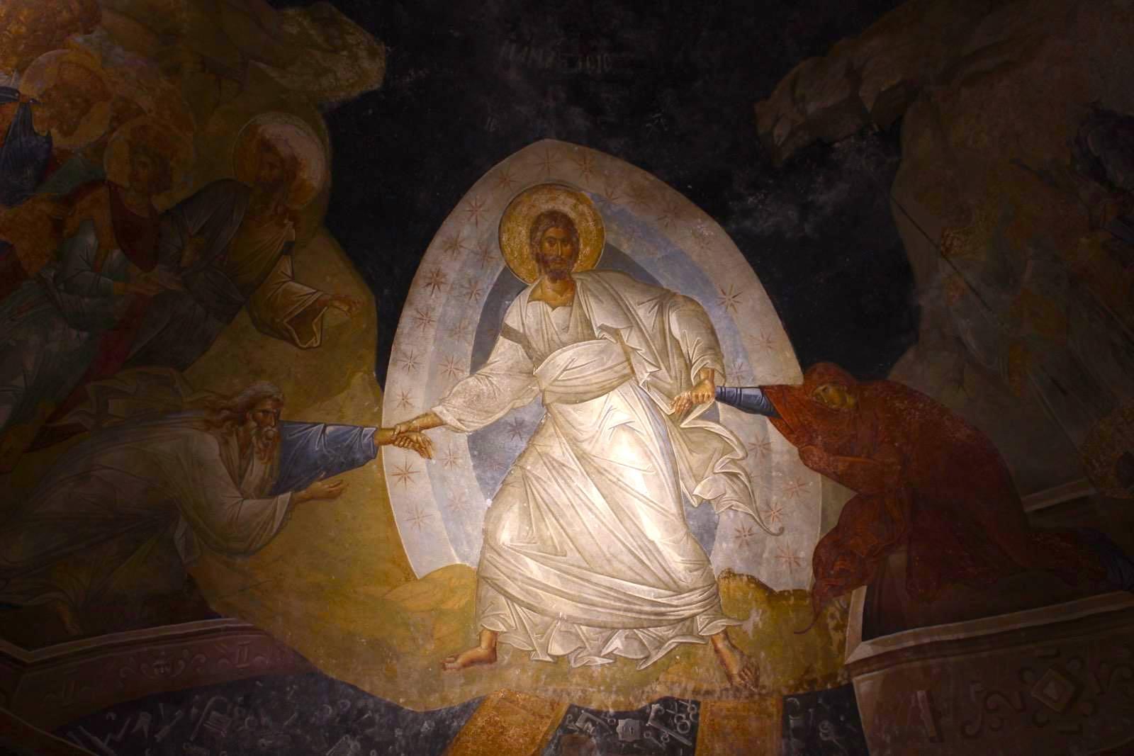 Détail de la fresque LAnastasis (Résurrection) dans l'église du Saint-Sauveur-in-Chora (Kariye Camii) à Istanbul ]